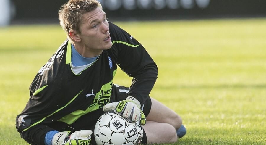 Brøndbys reservekeeper Mads Toppel tvivler på, om han kommer til at spille fodbold igen. Arkivfoto. Scanpix/Claus Fisker