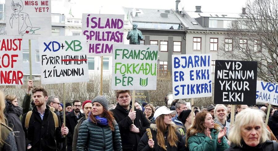Afsløringerne vakte stor utilfredshed og demonstrationer i Island.