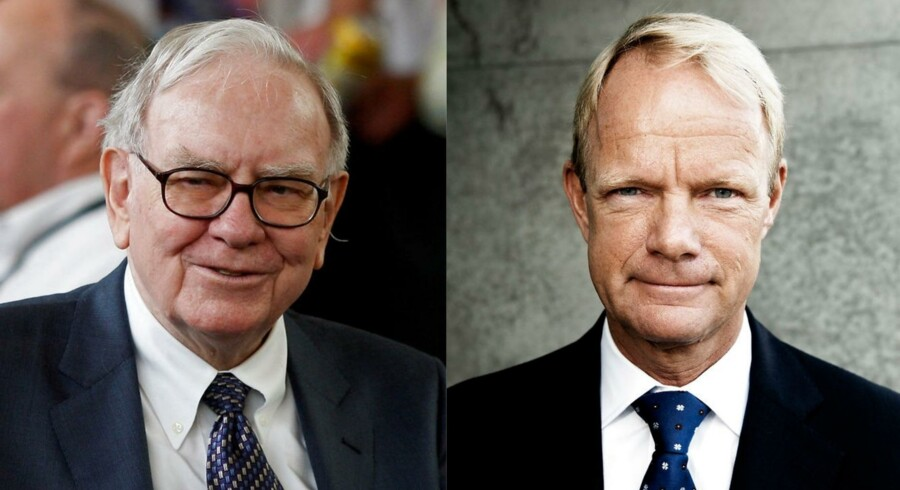 Warren Buffett (tv.) er en af verdens mest succesfulde investorer. Hans selskab har netop investeret i Teva, hvor danske Kåre Schultz er topchef.