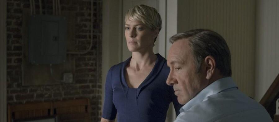"""Det perfekte politiske makkerpar. Robin Wright og Kevin Spacey i """"House of Cards"""". Foto: Nathaniel Bell for Netflix."""