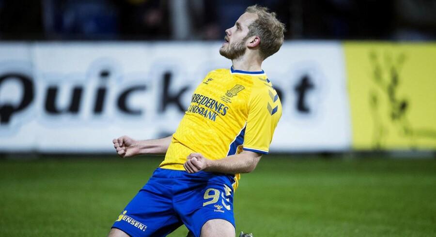 Teemu Pukki lavede tre mål, da Brøndby øgede forspringet i Superligaen med en 4-2-sejr over FC Nordsjælland. (Foto: Liselotte Sabroe/Scanpix 2017)
