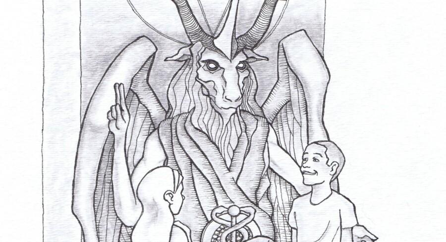 Udsnit af en tegning af statuen, som er foreslået af gruppen The Satanic Temple.