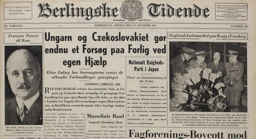 Avisforside Berlingske Tidende den 16. oktober 1938.