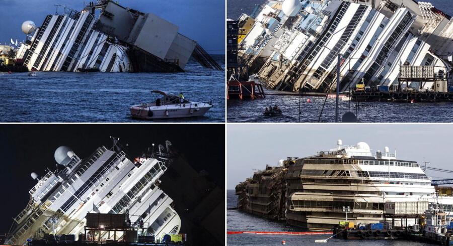 Fire billeder, der viser hævningen af Costa Concordia i september i år.