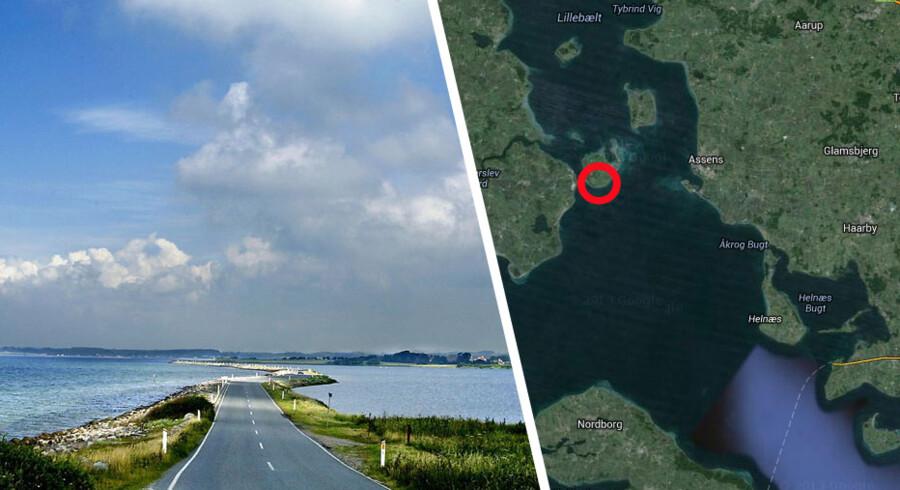 To fritidsfiskere vendte ikke hjem efter en fisketur nær Helnæs mandag. Nu har SOK fundet jollen og to lige ved Årø (den røde ring).