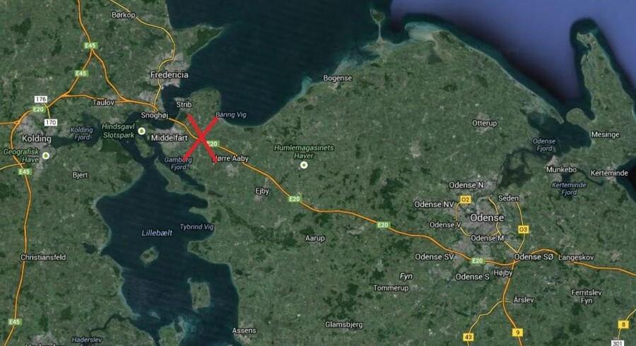 Den fynske motorvej er spærret mellem Nørre Aaby og Middelfart.
