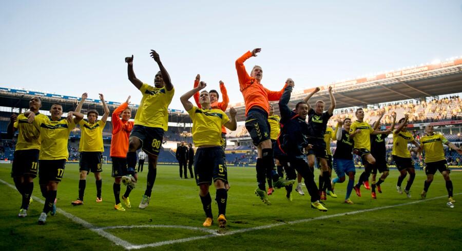 28-09-2013: Fodbold Superliga Brøndby IF - FC København: Brøndby jubler efter 3-2 sejren over FCK Foto: Lars Møller/Scanpix