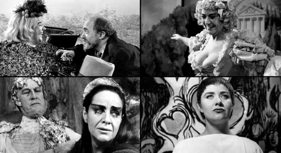 Bodil Udsen gav sit publikum mange bevægende teateroplevelser, og det var helt naturligt, at netop hun var modtageren af den allerførste Æresreumert, der blev uddelt i 1998. Her er blot fire eksempler på de store præstationer på scenen, som hun glædede publikum med. Det er øverst til venstre som Winnie i Samuel Becketts »Glade Dage«. Til højre er det i en Ernst Bruun Olsen-parodi på Holberg-komedien »Ulysses fra Ithacha«. Nederst til venstre ses Bodil Udsen i rollen som Medusa og til højre i rollen som Jeanne d'Arc.