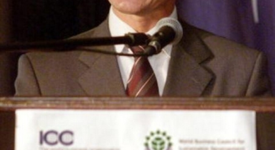 """Statsminister Anders Fogh Rasmussen i Johannesburg mandag morgen: """"Det er ikke bæredygtigt, at 15  procent af verdens befolkning modtager 80 procent af dens indkomst"""". Foto: HOWARD BURDITT/SCANPIX NORDFOTO"""