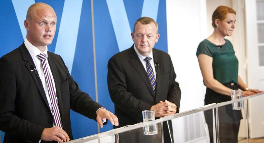 Lars Løkke Rasmussen, Peter Christensen og Inger Støjberg (V).