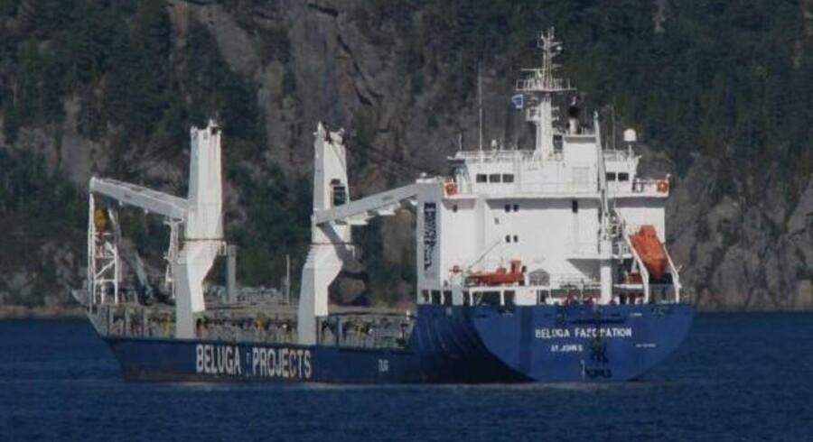 Det er Beluga Fascination, der efter planen skulle sejle det ultragiftige HCB fra Australien til Nyborg.