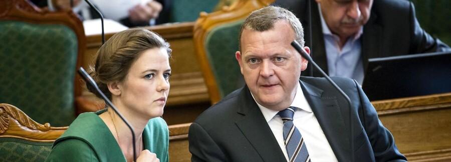 Ellen Trane Nørby og Lars Løkke Rasmussen, Venstre, under afslutningsdebatten i Folketinget