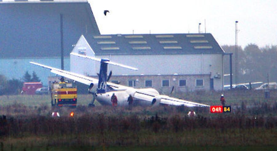Dash 8-flyet, der lørdag nødlandede i København giver SAS store problemer. Foto: Claus Bech