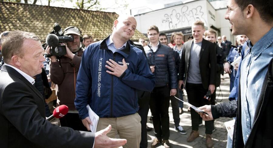 Jakob Engel-Schmidt sammen med Lars Løkke Rasmussen under valgkampen i juni.