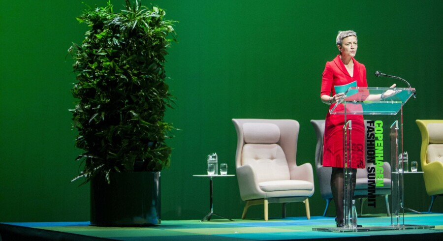 Margrethe Vestager taler under Copenhagen Fashion Summit i foråret.