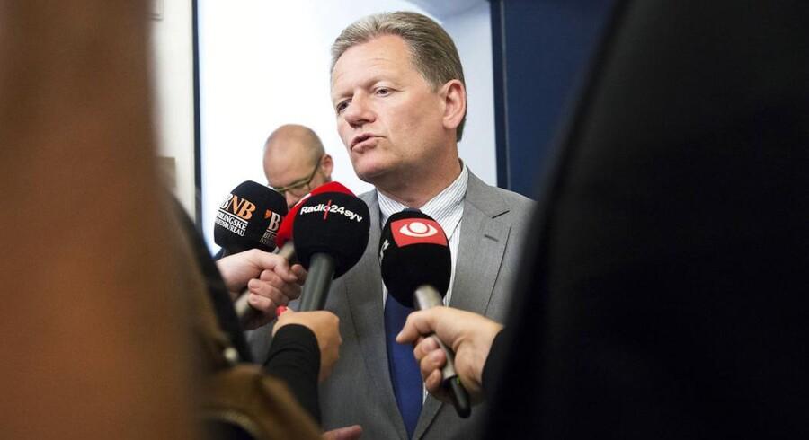 De Konservatives formand, Lars Barfoed, ved onsdagens forhandlinger i Finansministeriet.