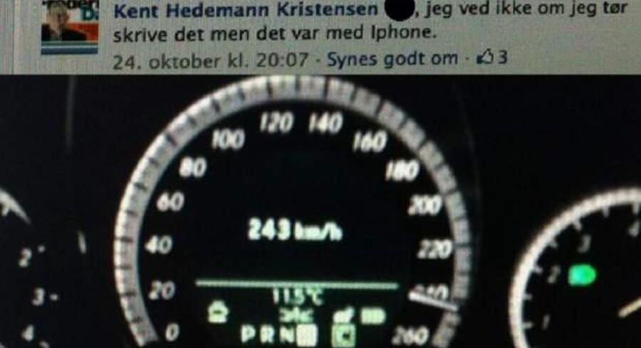 Her ses billedet af speedometeret i LA-lokalpolitikeren Kent Hedemann Kristensens bil, da han var ude at køre 23. oktober 2012. Han hævder selv, at det skete i Tyskland. (Foto: Kent Hedemann Kristensen)