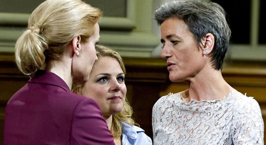 ARKIVFOTO. Helle Thorning-Schmidt, Johanne Schmidt-Nielsen og Margrethe Vestager.