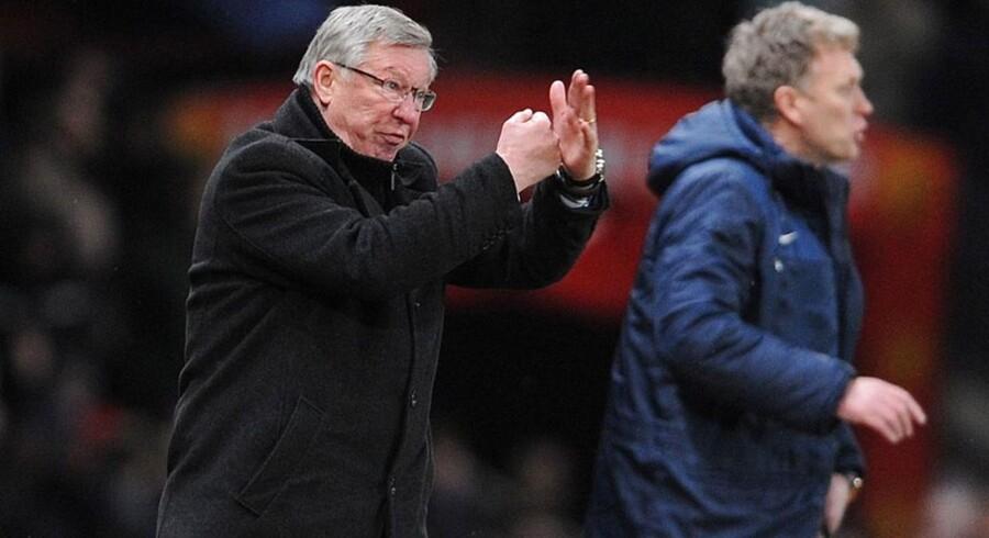 Manchester Uniteds manager, Alex Ferguson og and Evertons manager David Moyes, men Ferguson forsat var i United. Det kan være svært at efterfølge et ikon, lyder det fra eksperter i ledelse.