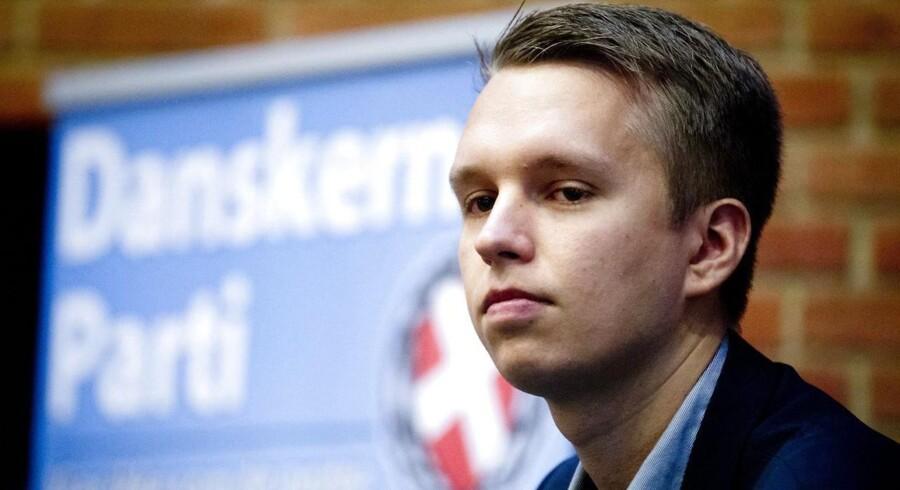 Daniel Carlsen fra Danskernes Parti ved et vælgermøde. Arkivfoto.
