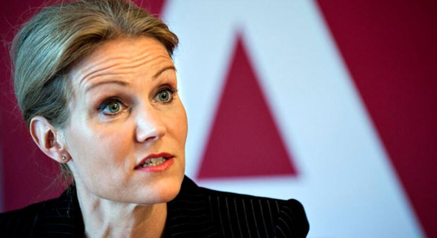 Helle Thorning-Schmidt ved sit partis gruppemøde i Helsingør.