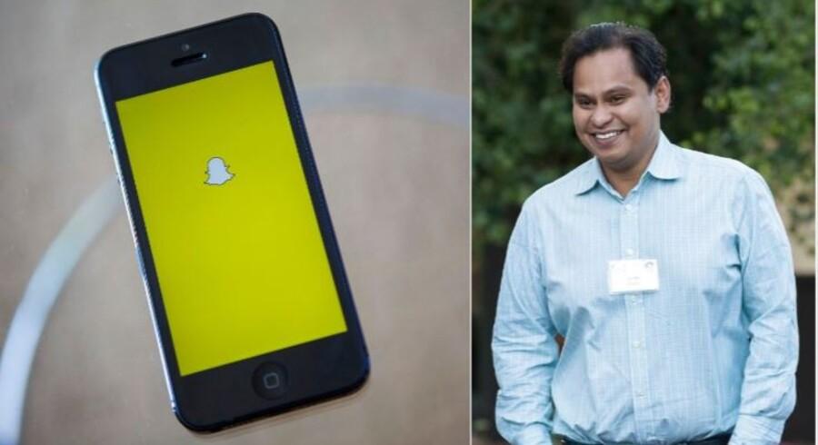 Imran Khan, strategidirektør for billedtjenesten Snapchat, siger nu stop. Arkivfotos: Eric Thayer, AFP/Scanpix, og Drew Angerer/Getty Images/AFP/Scanpix