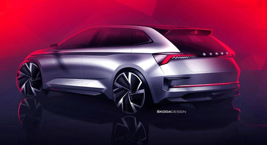 Skoda slår to fluer med et smæk. Tegningerne af den nye konceptbil, som afsløres på den store biludstilling i Paris i slutningen af måneden, viser både den kommende Golf-konkurrent og oplægget til en slagkraftig RS-model
