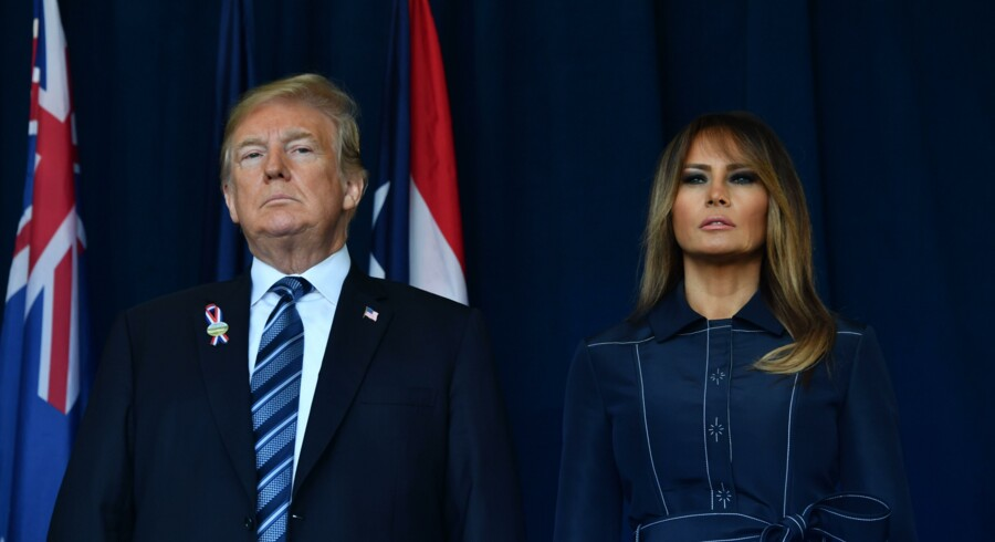 USA's præsident, Donald Trump, og landets førstedame, Melania Trump, ankommer til mindehøjtideligheden i Shanksville, Pennsylvania, hvor Flight 93 styrtede ned under terrorangrebet mod USA for 17 år siden. Nicholas Kamm/Ritzau Scanpix