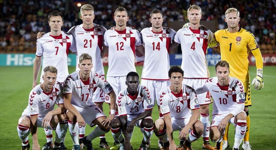 Det danske herrelandshold spiller søndagens kamp mod Wales.