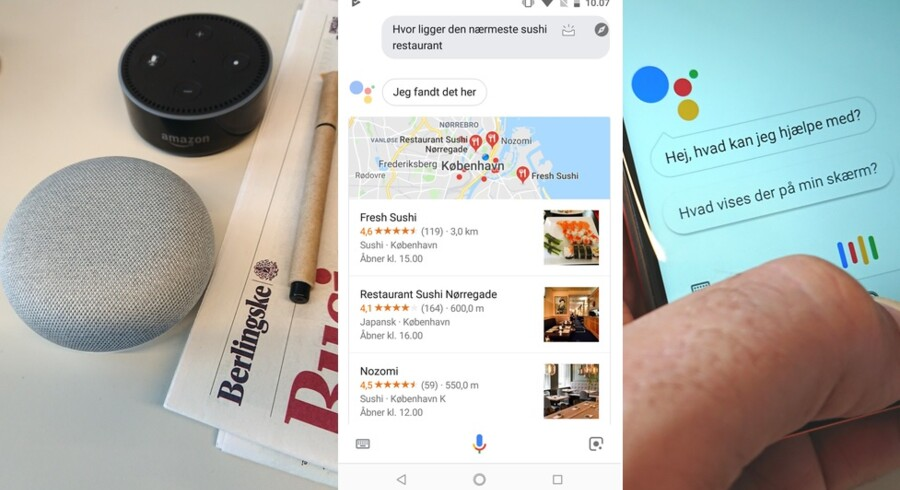 Amazons Echo Dot-højttaler (øverst til venstre) og Google Holm (nederst) har begge indbygget talegenkendelse. På telefonen til højre kan man rådspørge Google Assistent på dansk og f.eks. finde frem til nærmeste sushirestaurant. Dialogen skrives ud undervejs, så man kan se den på skærmen. Fotos: Thomas Breinstrup