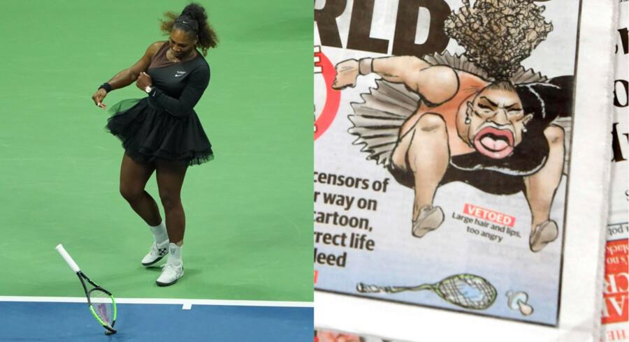 Serena Williams smadrede sin ketcher efter et US Open-nederlag til den 20-årige japanske tenniskomet Naomi Osaka. Til højre den australske satiretegning, der har fået internettet på den anden ende.
