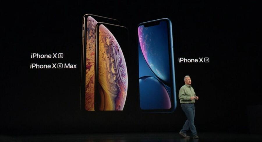 Her er Apples tre nye iPhone-telefoner, som marketingsdirektør Phil Schiller præsenterede onsdag aften på den amerikanske vestkyst. Foto fra Apples præsentation