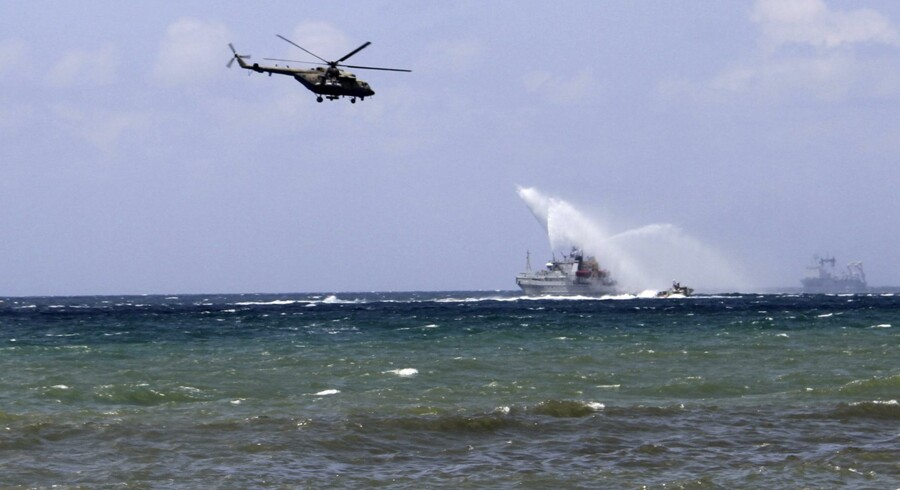Foto af russiske flådefartøjer ud for Syrien i juli. Russiske medier opgiver, at der er omkring 15 russiske flådefartøjer ved Syren. Nogle af dem er ifølge Nato udstyret med krydsermissiler. Stringer/arkiv/Ritzau Scanpix