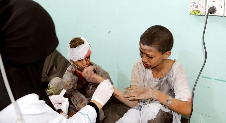 Sårede børn fra torsdagens angreb.