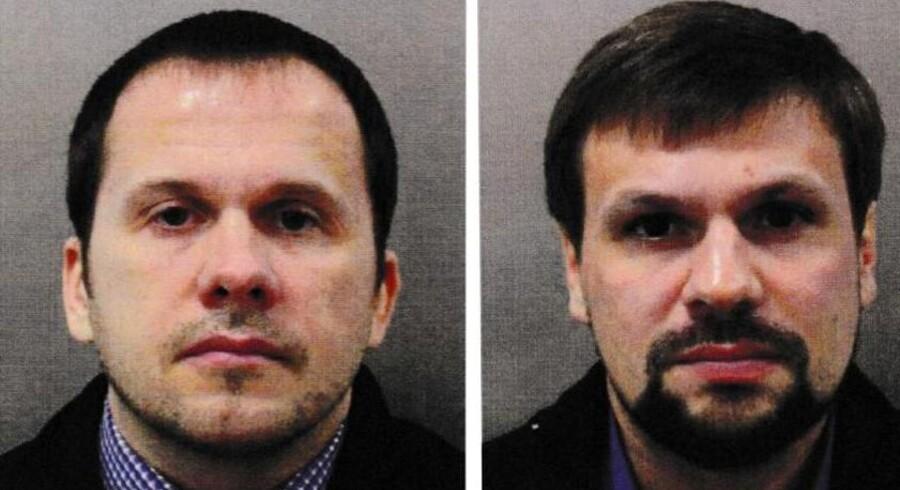 Aleksandr Petrov og Ruslan Bosjirov, som Storbritannien anklager for at stå bag giftangreb, på det foto, som britisk politi offentliggjorde i sidste uge. Handout/Reuters