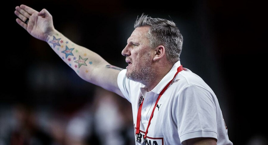 Danmarks cheftræner Nikolaj Jacobsen under EM kampen mellem Danmark-Tyskland søndag den 21 januar 2018.