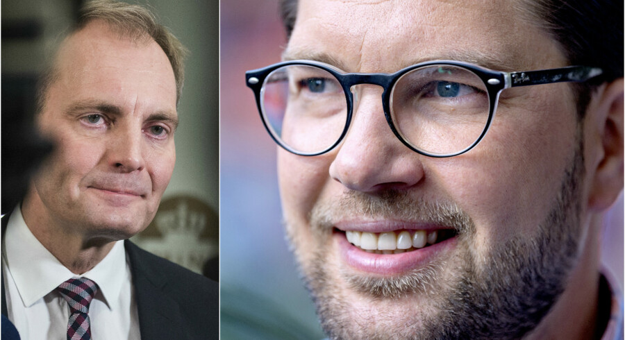 Peter Skaarup, gruppeformand for DF, vil gerne have de svenske borgerlige til at lukke Sverigedemokraternes Jimmie Åkesson ind i varmen. Foto: Sarah Christine Nørgaard og Bax Lindhardt/Ritzau Scanpix
