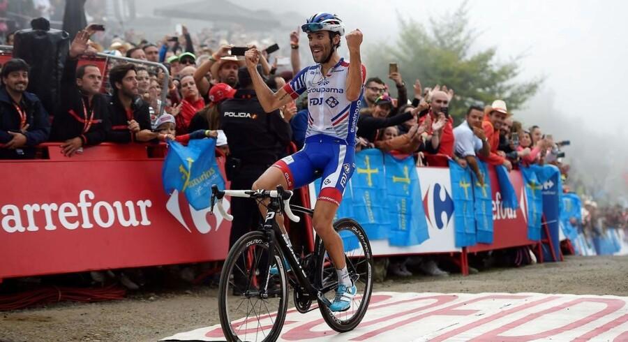 Pinot kørte solo fra favoritfeltet på den berømte Covadonga-stigning op til målstregen, hvor han havde et forspring på 22 sekunder til nummer to, Miguel Ángel López (Astana).