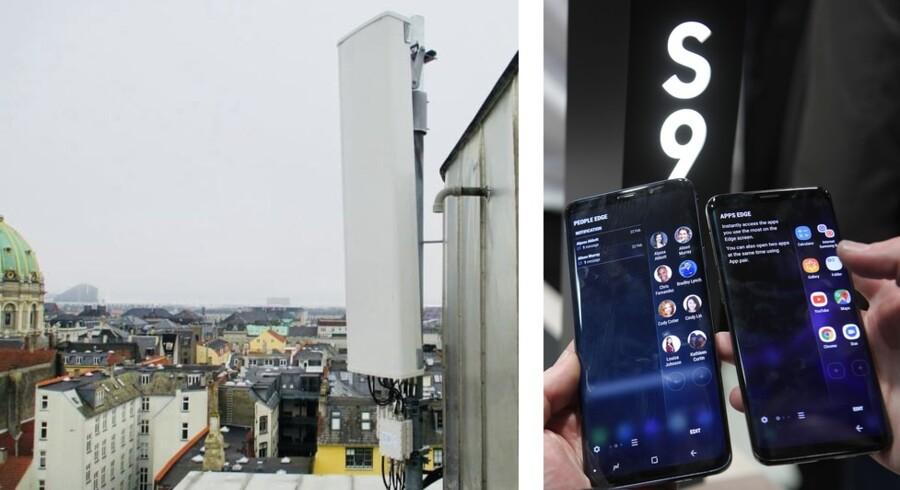 Den første mobilmast med internethastigheder på en gigabit i sekundet er nu åbnet for almindelig brug. Den befinder sig nær Kongens Nytorv, men kun helt nye smartphones som Samsungs Galaxy S9 er i stand til at bruge de høje hastigheder. Fotos: Telia og Lluis Gene, AFP/Scanpix