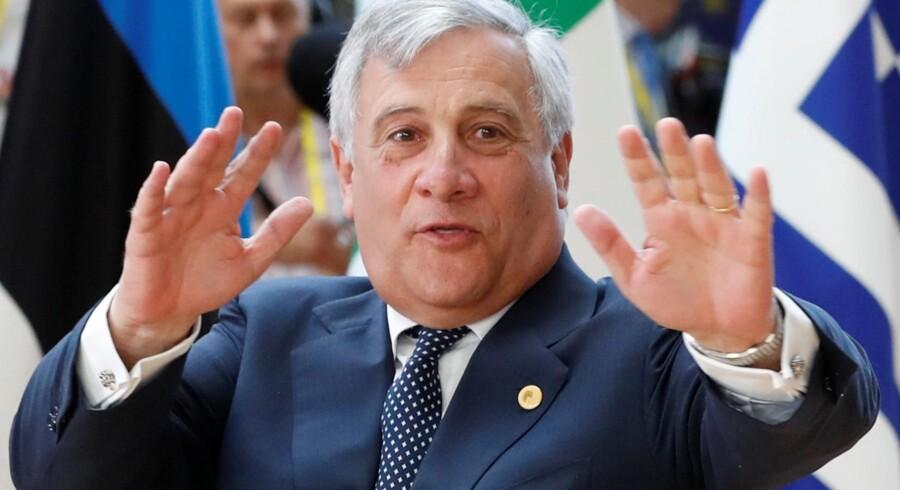 Den italienske formand for EU-Parlamentet, Antonio Tajani, giver den pension, han får af EU-Kommissionen, til velgørenhed. Yves Herman/arkiv/Reuters
