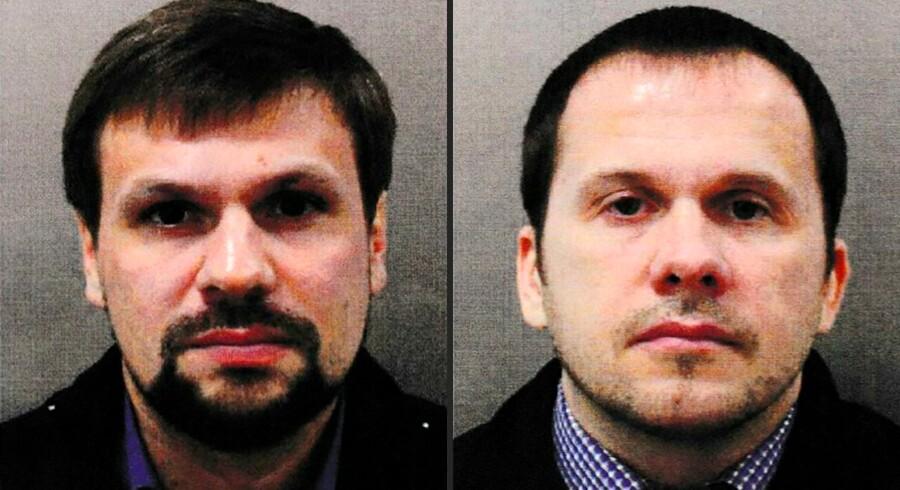 De to russiske statsborgere Ruslan Bosjirov (tv.) og Alexander Petrov sigtes for tredobbelt mordforsøg med nervegiften Novitjok i det sydlige England i marts.