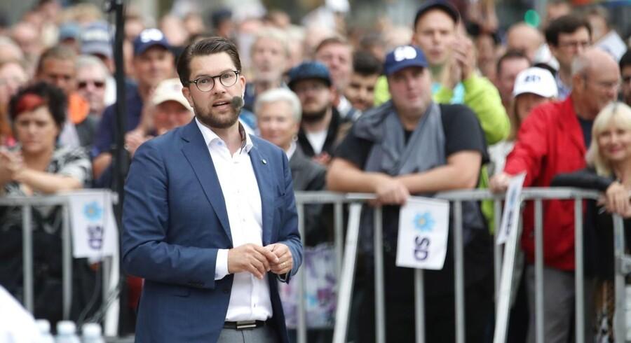 Jimmie Åkesson og Sverigedemokraterne står til stor fremgang ved søndagens valg.