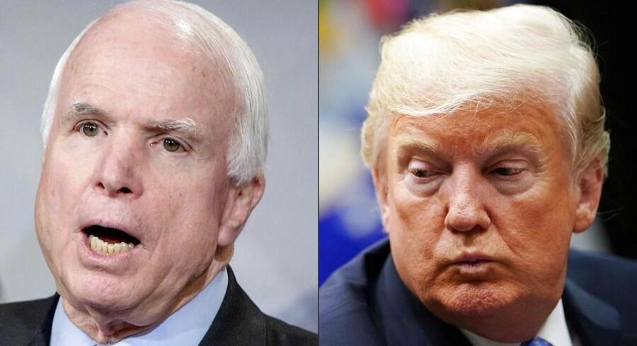 John McCain ses her i et kombineret fotografi med Donald Trump. Et af den afdøde senators sidste ønsker var, at Trump ikke deltog i hans begravelse.