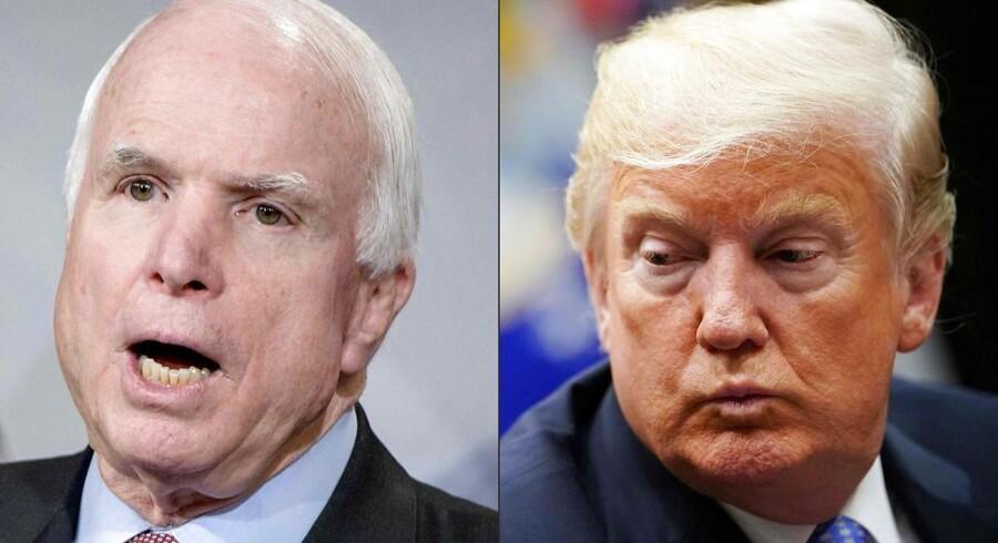 John McCain og Donald Trumps fejde blev tydelig, da Donald Trump i 2016 søgte at blive republikanernes præsidentkandidat. (Foto: BRENDAN SMIALOWSKI, MANDEL NGAN/Ritzau Scanpix)