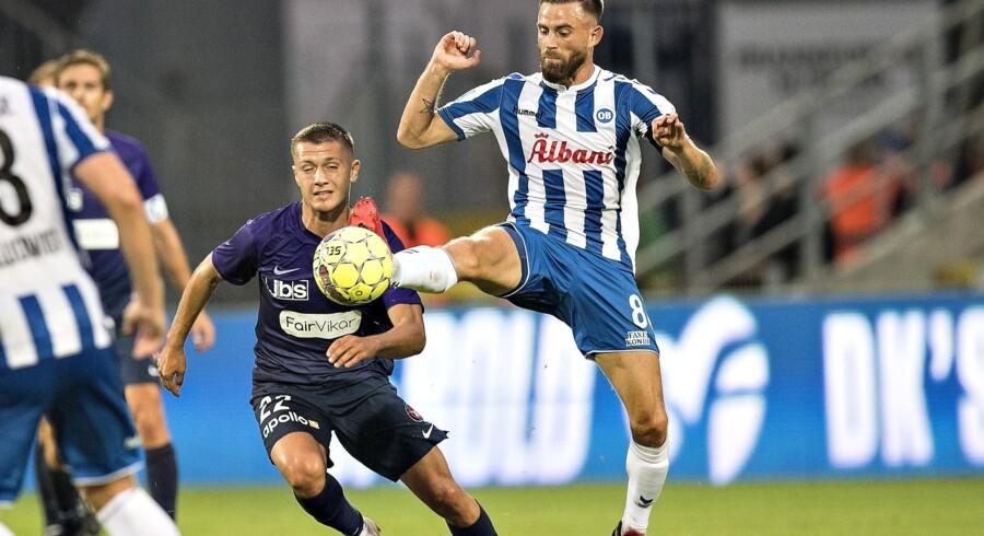 Janus Drachmann kommer i fremtiden til at bære anførerbindet, når han tørner ud for OB. Her ses han i kamp mod FC Midtjylland, som han spillede for frem til 18. juli. Claus Fisker/Ritzau Scanpix