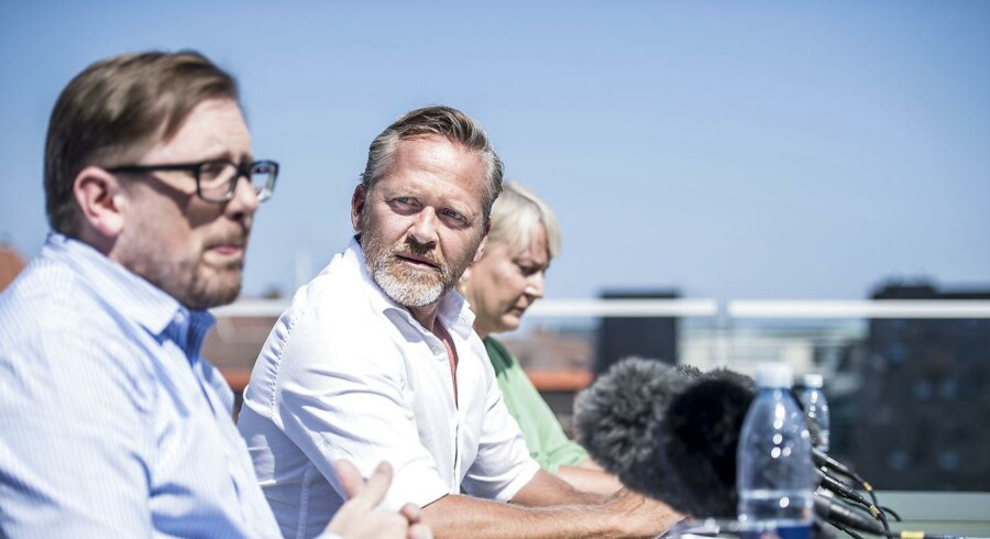 Simon Emil Ammitzbøll-Bille, partiformand Anders Samuelsen og Christina Egelund under Liberal Alliance' pressemøde, som afholdes efter sommergruppemødet i BLOX København, torsdag den 9. august 2018.. (Foto: Mads Claus Rasmussen/Ritzau Scanpix)