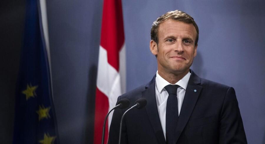 Emmanuel Macron under pressemødet i Statsministeriet, der kom til at handle om interne franske forhold i stedet for gensidig ros. Foto: Olafur Steinar Gestsson/Ritzau Scanpix