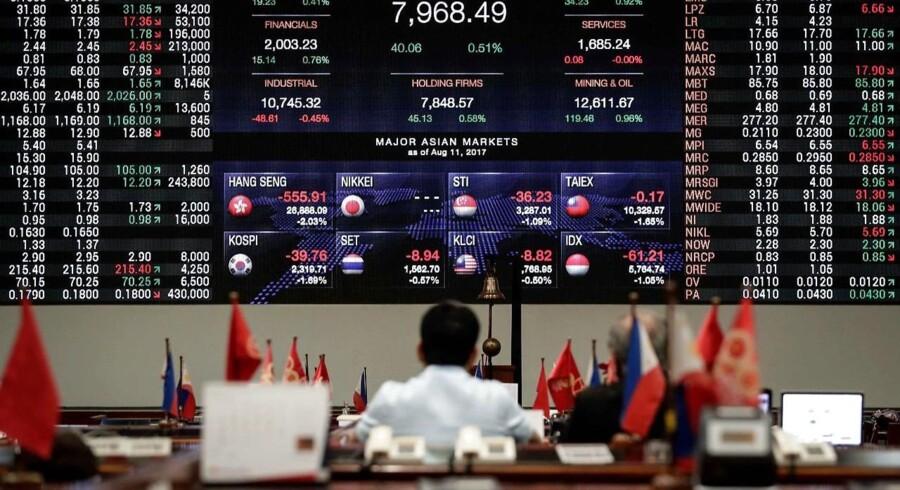 De asiatiske aktiemarkeder ligger overvejende med negative fortegn torsdag morgen. Det er på trods af nye stigninger på Wall Street og vigende frygt for, at de globale handelsstridigheder med USA som omdrejningspunkt skal ende ude en løsning.