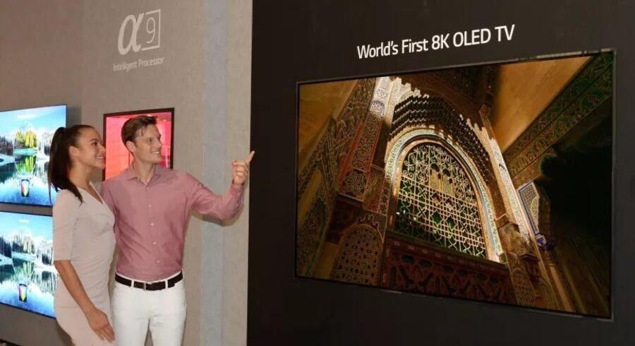 De kommende fladskærmsfjernsyn vil få en opløsning på 8K, altså dobbelt så høj som dagens bedste i ultra-HD. Hvornår de kommer og til hvilken pris er usikkert. Foto: LG