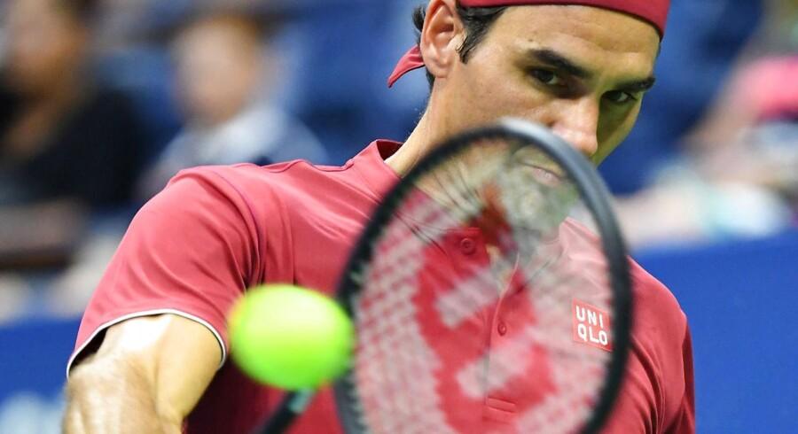 Andenseedede Roger Federer blev kun brudt en enkelt gang i sin første kamp ved US Open.